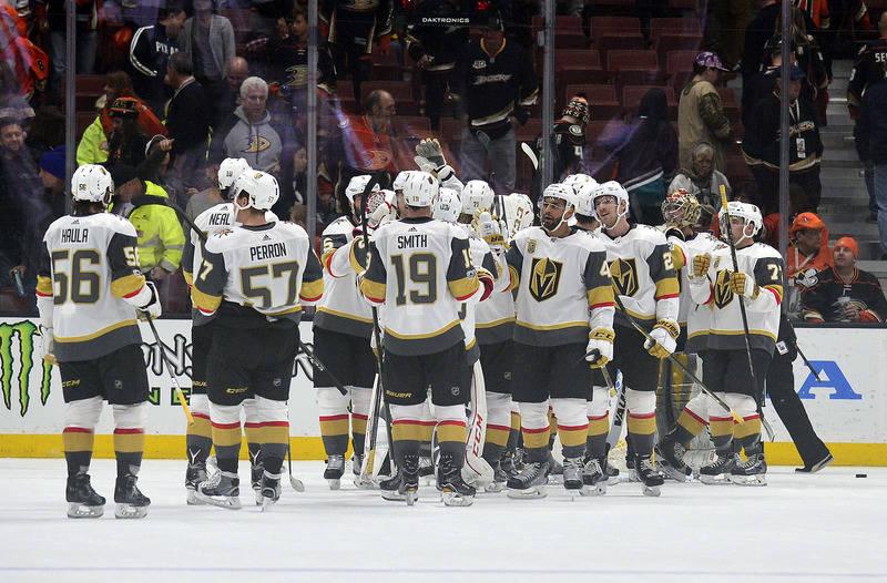 November 22, 2017; Anaheim, CA, USA; Vegas Golden Knights celebrate the 3-2 victory against the Anaheim Ducks following the third period at Honda Center. Mandatory Credit: Gary A. Vasquez-USA TODA ...