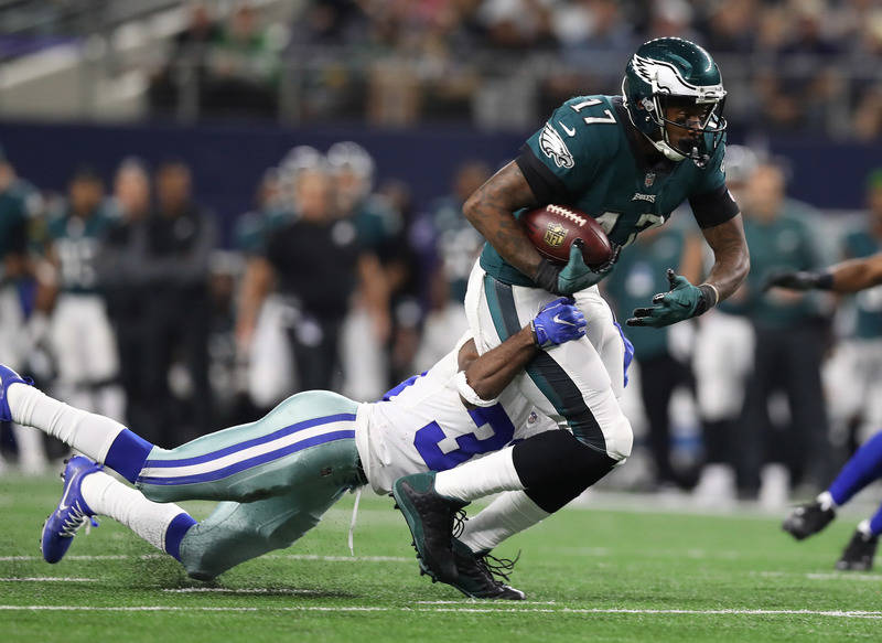 Nov 19, 2017; Arlington, TX, USA; Philadelphia Eagles receiver Alshon Jeffery (17) runs after a reception in the third quarter against Dallas Cowboys cornerback Anthony Brown (30) at AT&T Stad ...