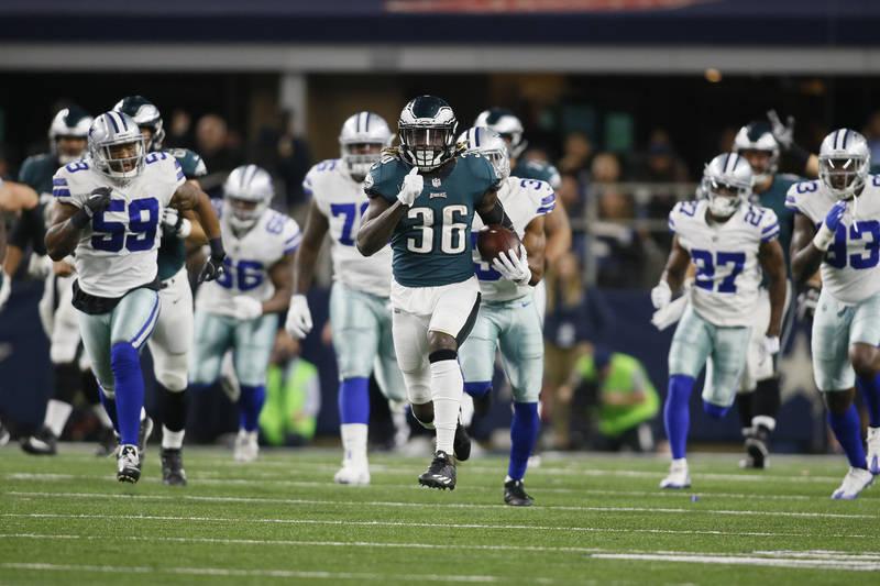 Nov 19, 2017; Arlington, TX, USA; Philadelphia Eagles running back Jay Ajayi (36) runs the ball against the Dallas Cowboys in the third quarter at AT&T Stadium. Mandatory Credit: Tim Heitman-U ...