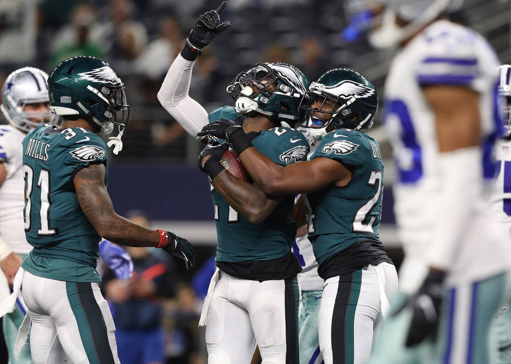 Nov 19, 2017; Arlington, TX, USA; Philadelphia Eagles safety Malcolm Jenkins (27) celebrates his fourth quarter interception with Corey Graham (24) against the Dallas Cowboys at AT&T Stadium.  ...