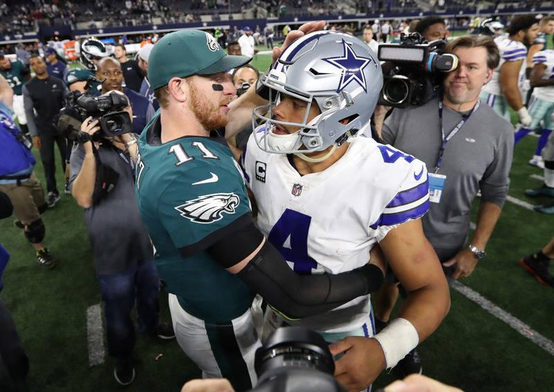 Nov 19, 2017; Arlington, TX, USA; Philadelphia Eagles safety Malcolm Jenkins (27) celebrates his fourth quarter interception with Corey Graham (24) against the Dallas Cowboys at AT&T Stadium.  ...