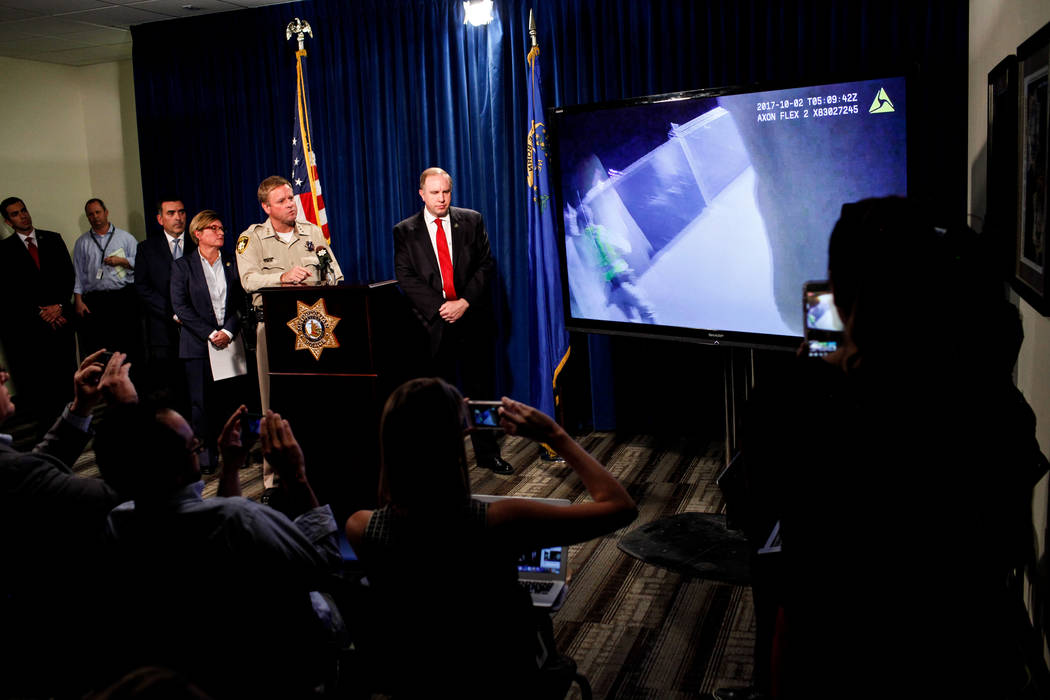 Jill Snyder, special agent for the U.S. Bureau of Alcohol Tobacco and Firearms, left, Las Vegas Metro Police Department Undersheriff Kevin McMahill, center, and FBI Special Agent Aaron Rouse, righ ...