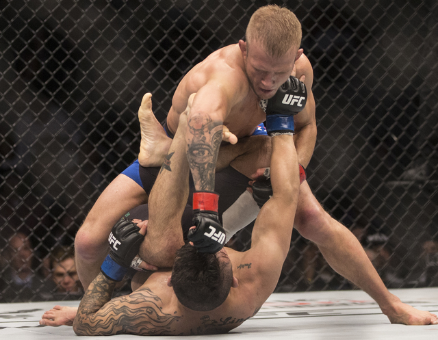TJ Dillashaw lands a strike against John Lineker during their bantamweight fight at UFC 207 at T-Mobile Arena on Friday, Dec. 30, 2016, in Las Vegas. Benjamin Hager/Las Vegas Review-Journal