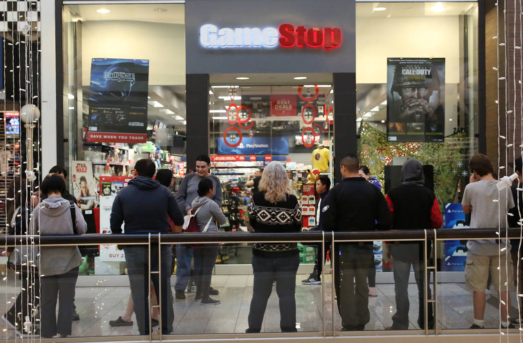 People stand in line outside GameStop at the Galleria Mall on Black Friday, Nov. 24, 2017, in Henderson. Bizuayehu Tesfaye Las Vegas Review-Journal @bizutesfaye