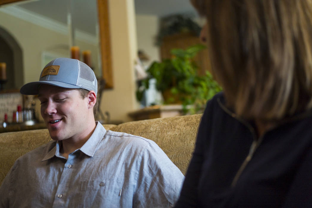 Jake Beaton, left, recalls memories of his father, Jack, who died in the Oct. 1 shooting in Las Vegas, at his family's home in Bakersfield, Calif. on Monday, Nov. 6, 2017. Chase Stevens/Las Vegas  ...