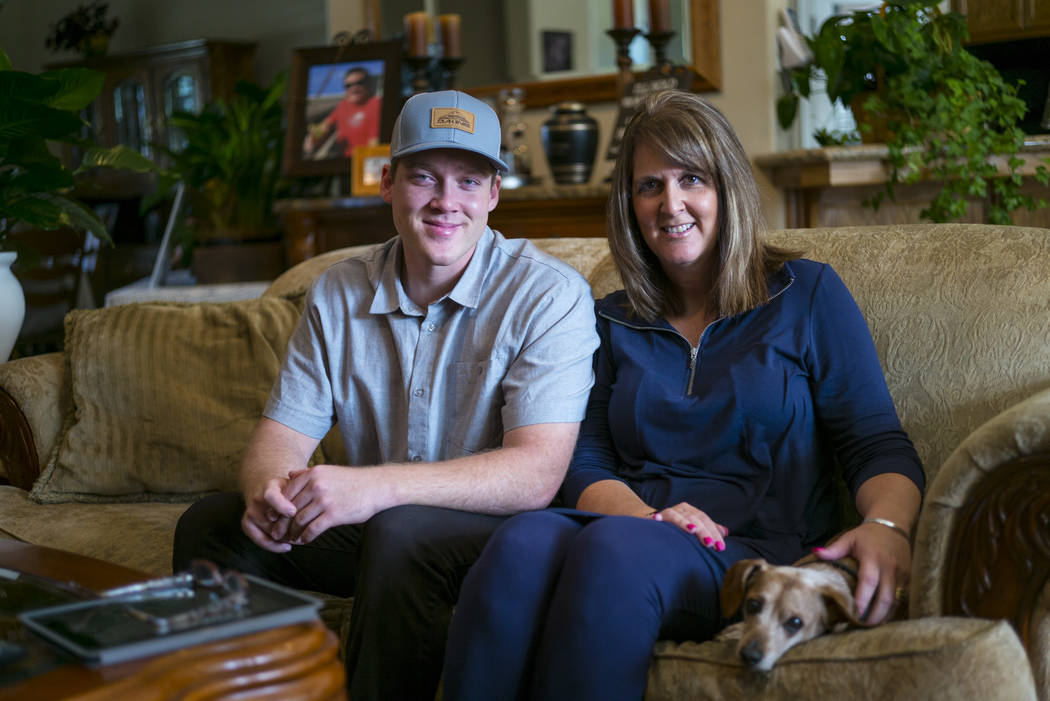 Jake and Laurie Beaton at their home in Bakersfield, Calif. on Monday, Nov. 6, 2017. Jack Beaton, father and husband, died protecting Laurie during the Oct. 1 shooting in Las Vegas. (Chase Stevens ...