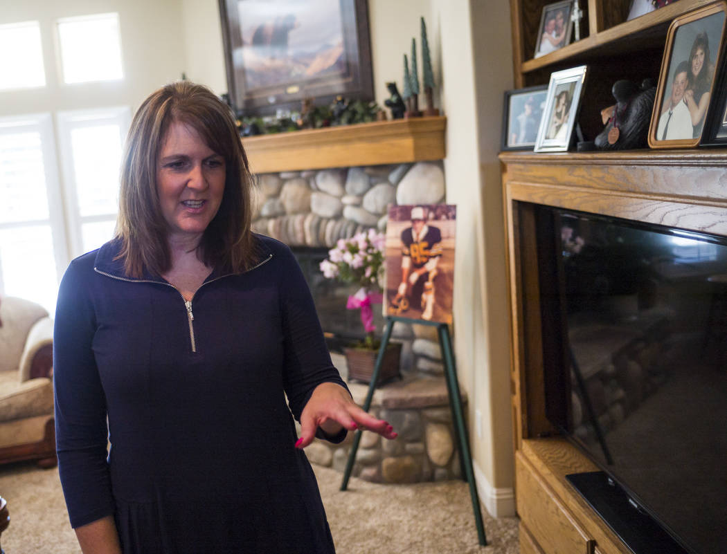 Laurie Beaton talks about her husband, Jack, who died protecting her during the Oct. 1 shooting in Las Vegas, at her home in Bakersfield, Calif. on Monday, Nov. 6, 2017. (Chase Stevens/Las Vegas R ...