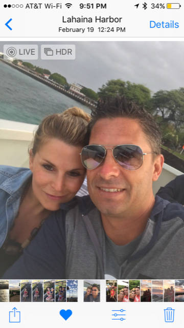 Jason LeRocque, and wife Rhonda cuddle during a boat ride during a vacation in Maui. Rhonda was killed in the Oct. 1 shooting.