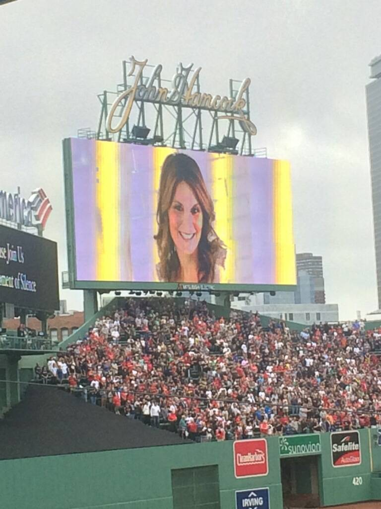 Jason LeRocque's late wife, Rhonda, is honored at Fenway Park by the Boston. Red Sox. Jason and his daughter Ali, live in the Boston suburb of Tewksbury.