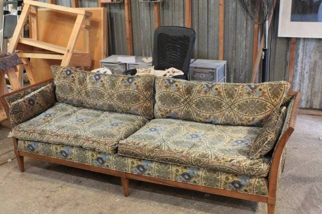 Soleil Design Before: Some new filling and fabric turn this dilapidated sofa into a beautiful piece of furniture.