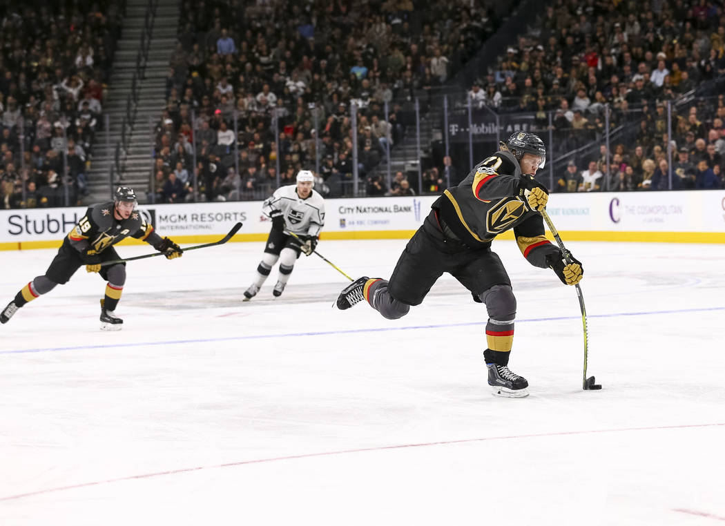 Vegas Golden Knights center William Karlsson (71) takes a slap shot against the Los Angeles Kings during the third period of an NHL hockey game at the T-Mobile Arena in Las Vegas on Sunday, Nov. 1 ...