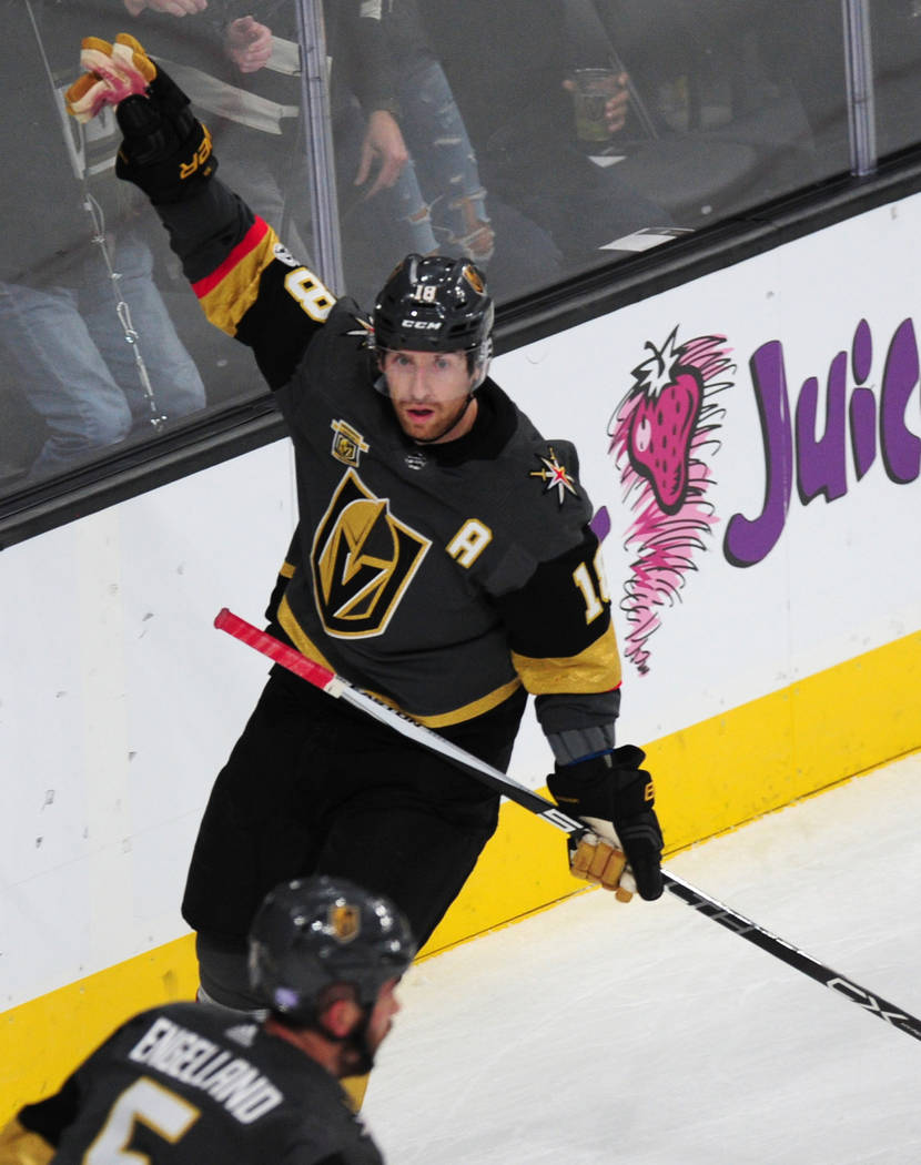 Vegas Golden Knights forward James Neal celebrates a goal against the Winnipeg Jets in the first period of their NHL hockey game at T-Mobile Arena in Las Vegas Friday November 10, 2017. Josh Holmb ...