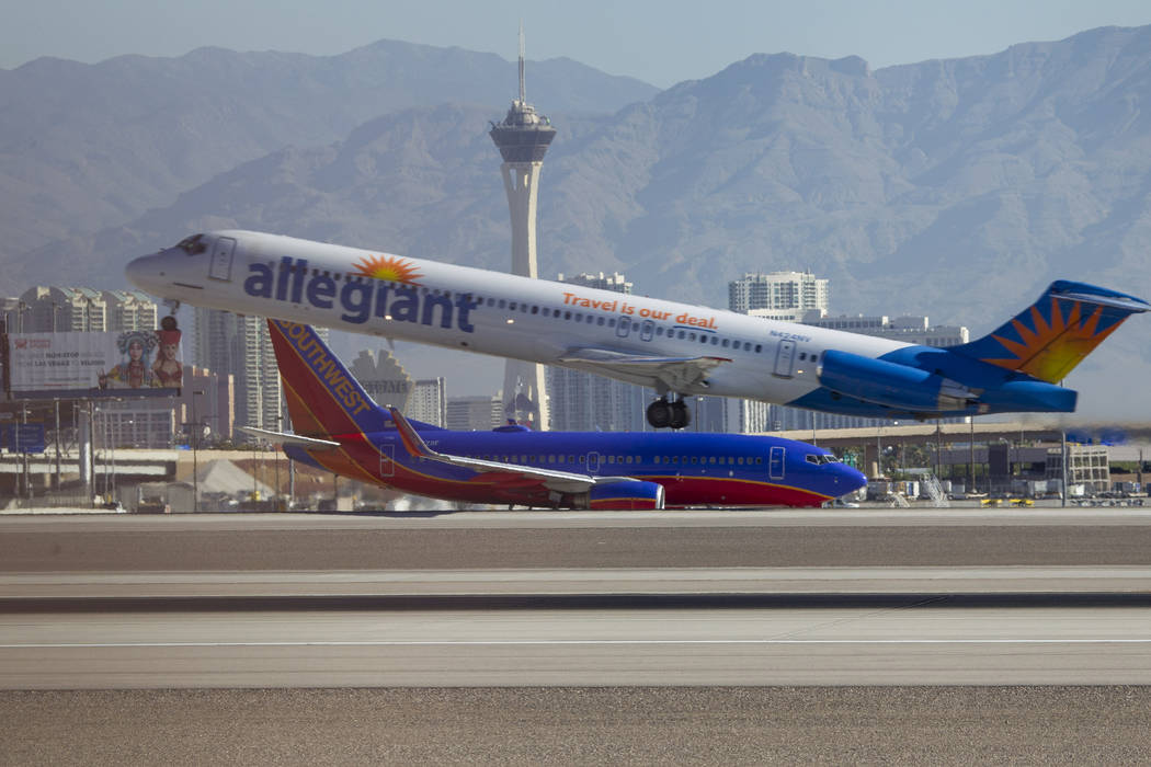 An Allegiant Air jetliner departs from McCarran International Airport in Las Vegas on Wednesday, June 28, 2017. (Richard Brian/Las Vegas Review-Journal) @vegasphotograph