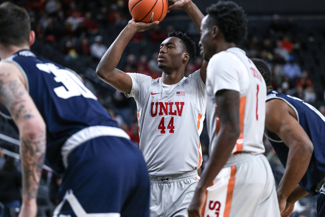 UNLV Rebels forward Brandon McCoy (44) shoots a free-throw during the first half of basketball game against the Rice Owls during day one of the MGM Grand Main Event tournament at T-Mobile Arena in ...