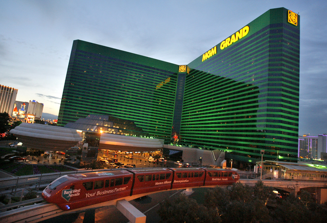 Las Vegas Monorail passes by MGM Grand in Las Vegas, Wednesday, April, 27, 2006.  MGM Mirage Inc., the world's second largest casino company, said Thursday its first-quarter profit increased 29 pe ...