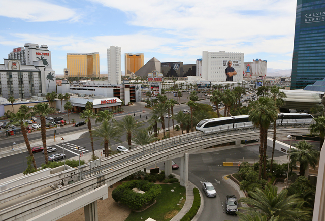 The Las Vegas Monorail runs past MGM Grand hotel-casino Thursday, June 2, 2016, in Las Vegas. Passengers can ride the Monorail from MGM Grand to SLS with stops along the way. (Ronda Churchill/Las  ...