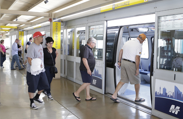Passengers board the Monorail at MGM Station Thursday, Oct. 27, 2016, in Las Vegas. Bizuayehu Tesfaye/Las Vegas Review-Journal Follow @bizutesfaye