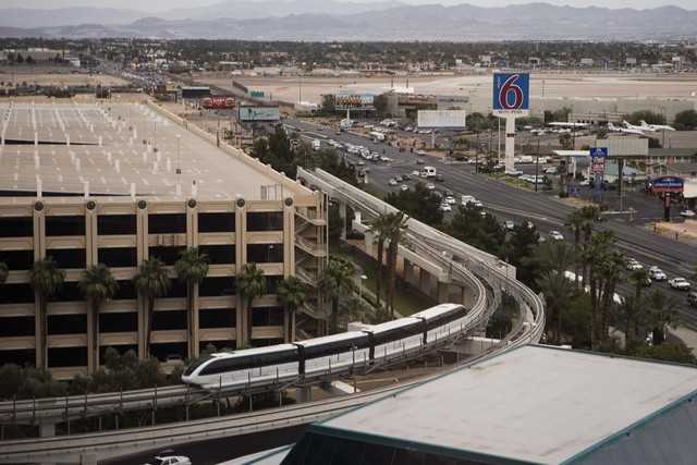 The Las Vegas Monorail as seen Wednesday, May 29, 2014, from the 15th floor of MGM Grand hotel-casino. The route of the monorail and its potential to transport workers on the Las Vegas Strip was o ...