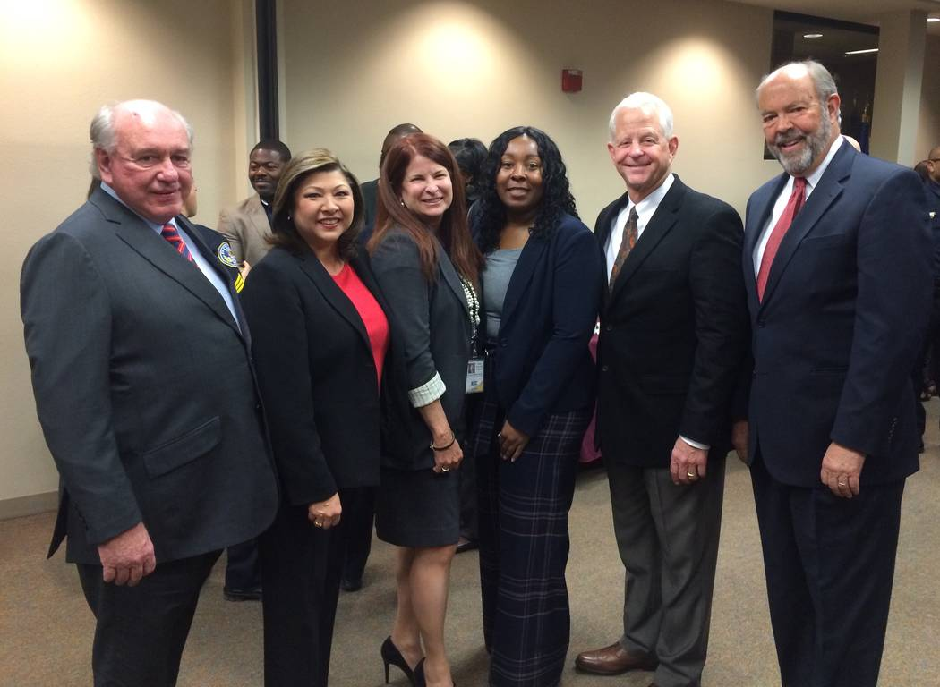 Newly appointed Henderson Police Chief LaTesha Watson poses with Mayor Debra March, center, and members of the City Council. (City of Henderson/David Cherry)