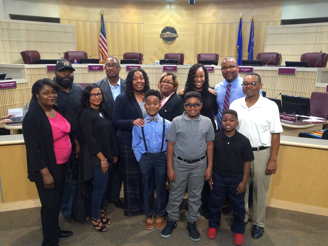 Newly appointed Henderson Police Chief LaTesha Watson, center, poses with family after taking a ceremonial oath of office. (City of Henderson/David Cherry)