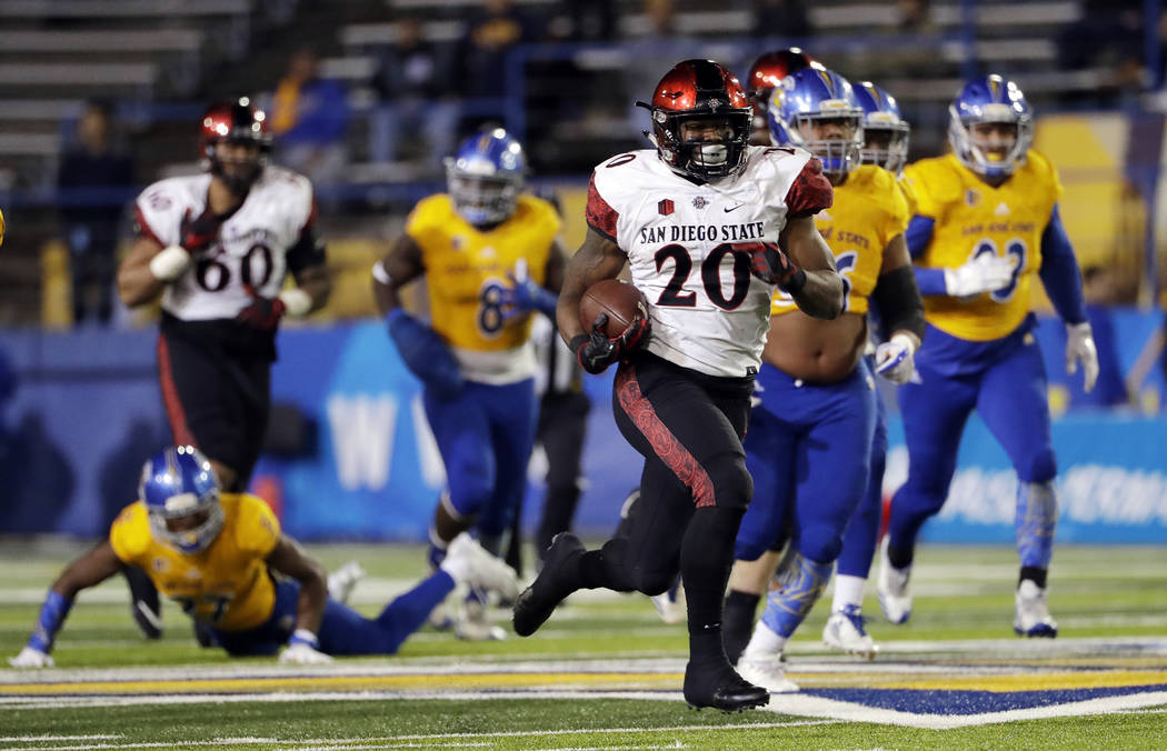 San Diego State running back Rashaad Penny runs against San Jose State during an NCAA college football game against San Jose State Saturday, Nov. 4, 2017, in San Jose, Calif. (AP Photo/Marcio Jose ...