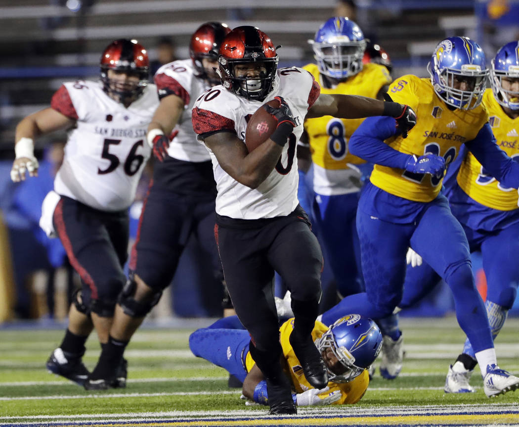 FILE - In a Saturday, Nov. 4, 2017 file photo, San Diego State running back Rashaad Penny runs against San Jose State during an NCAA college football game against San Jose State, in San Jose, Cali ...