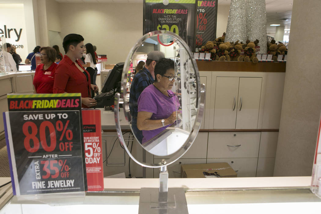 Shoppers browse the jewelry counter during Thanksgiving Day shopping at the JCPenney at the Galleria at Sunset in Henderson, Thursday, Nov. 23, 2017. Bridget Bennett Las Vegas Review-Journal @Brid ...