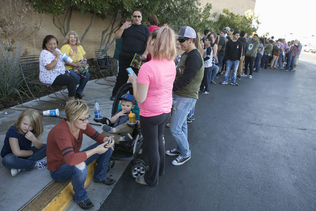 A line to enter JCPenney for Thanksgiving Day shopping at the at the Galleria at Sunset wraps around the parking lot in Henderson, Thursday, Nov. 23, 2017. Bridget Bennett Las Vegas Review-Journal ...