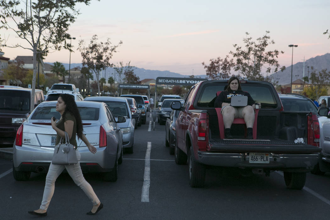 Laura Chir sits in the back of her pick-up in the parking lot of Best Buy prior to Thanksgiving Day shopping in Henderson, Thursday, Nov. 23, 2017. Bridget Bennett Las Vegas Review-Journal @Bridge ...