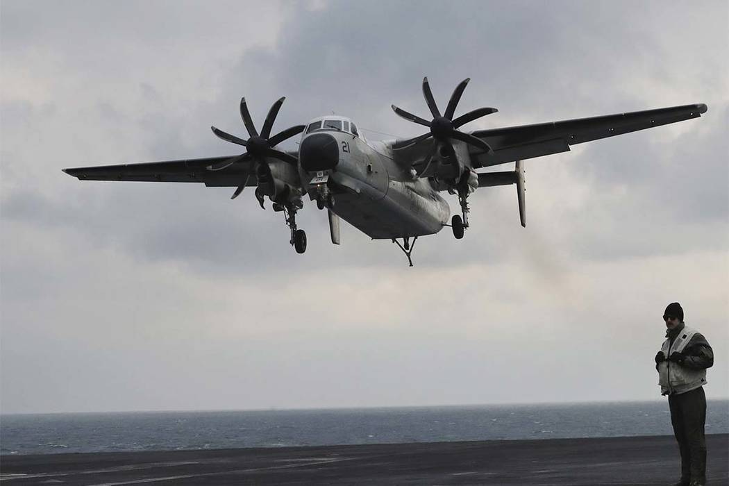 A plane, similar to this C-2 Greyhound carrying 11 crew and passengers, crashed into the Pacific Ocean on Wednesday, Nov. 22, 2017, while on the way to the USS Ronald Reagan aircraft carrier, the  ...