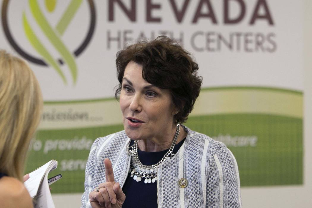 U.S. Rep. Jacky Rosen, D-Nev., speaks during an interview after hosting a press conference at Nevada Health Centers to discuss legislative efforts to address doctor shortage in Nevada on Monday, A ...