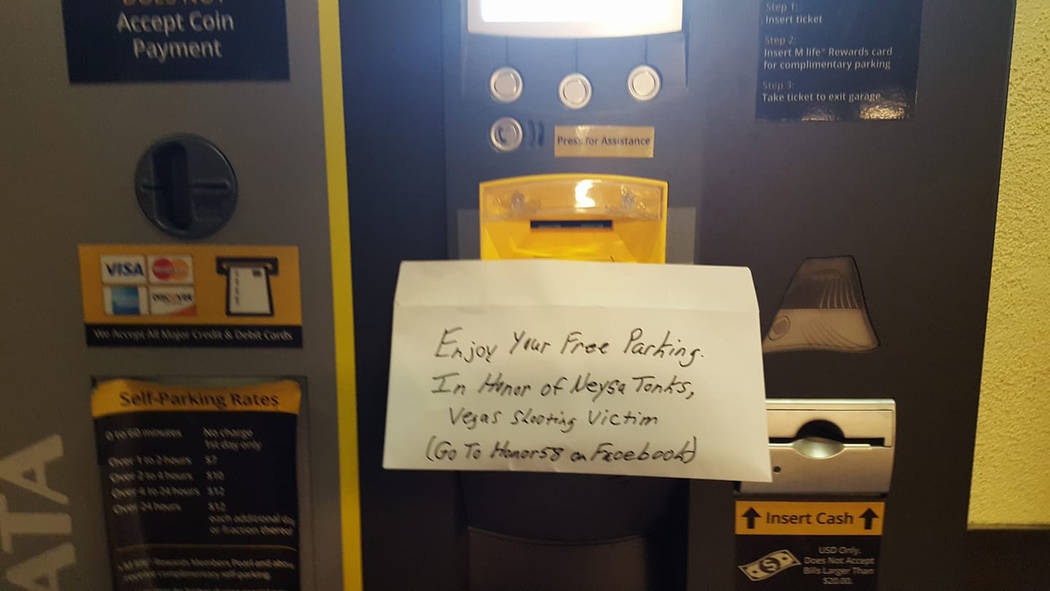 Long Island, New York resident Tommy Maher left money for free parking, one of a number of acts of kindness he is doing across the country to remember the Route 91 victims. Photo provided by Tommy ...