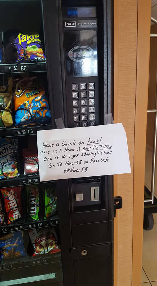 Long Island, New York resident Tommy Maher left money for a free snack at a vending machine, one of a number of acts of kindness he is doing across the country to remember the Route 91 victims. Ph ...