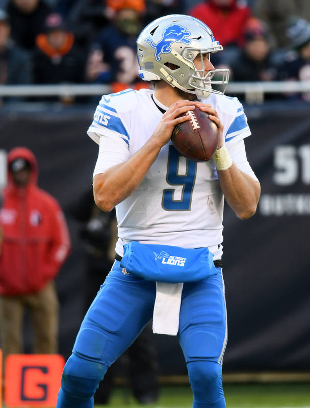 Nov 19, 2017; Chicago, IL, USA; Detroit Lions quarterback Matthew Stafford (9) drops back to pass against the Chicago Bears  during the second half at Soldier Field. Mandatory Credit: Mike DiNovo- ...