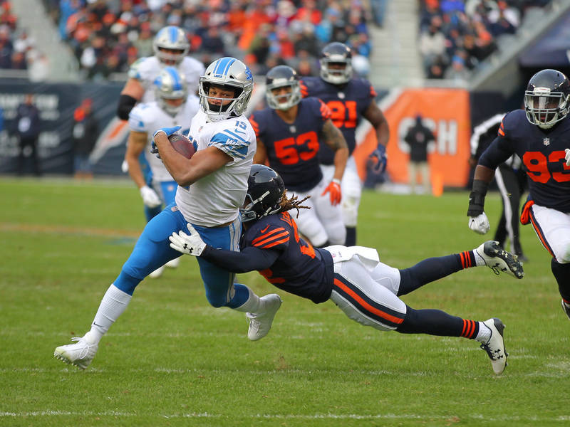 Nov 19, 2017; Chicago, IL, USA; Detroit Lions wide receiver Golden Tate (15) is tackled by Chicago Bears cornerback Cre'von LeBlanc (22) during the second half at Soldier Field. Mandatory Credit:  ...