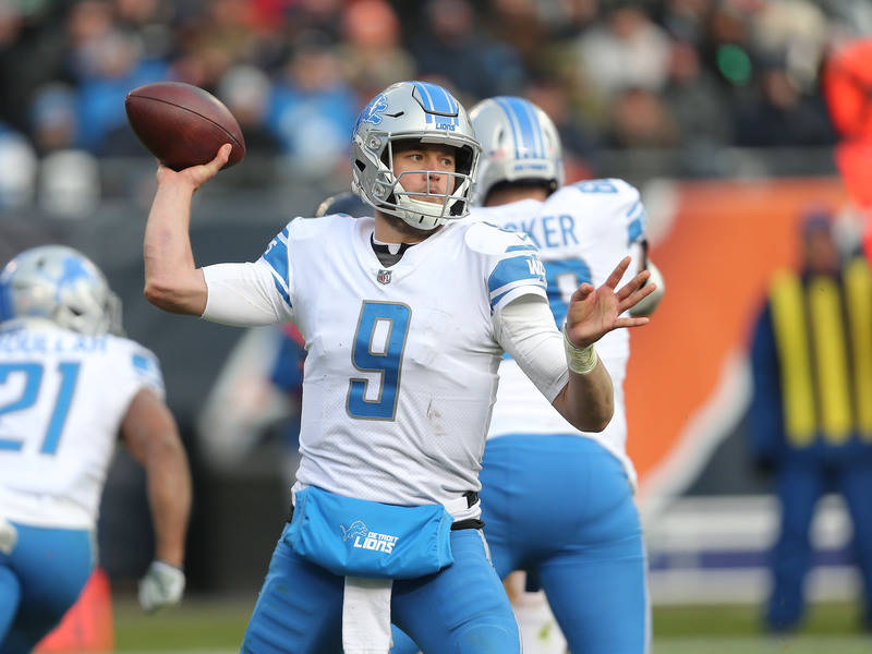 Nov 19, 2017; Chicago, IL, USA; Detroit Lions quarterback Matthew Stafford (9) throws a pass during the second half against the Chicago Bears at Soldier Field. Mandatory Credit: Dennis Wierzbicki- ...