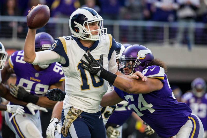Nov 19, 2017; Minneapolis, MN, USA; Los Angeles Rams quarterback Jared Goff (16) is hit by Minnesota Vikings linebacker Eric Kendricks (54) during the third quarter at U.S. Bank Stadium. Credit: B ...