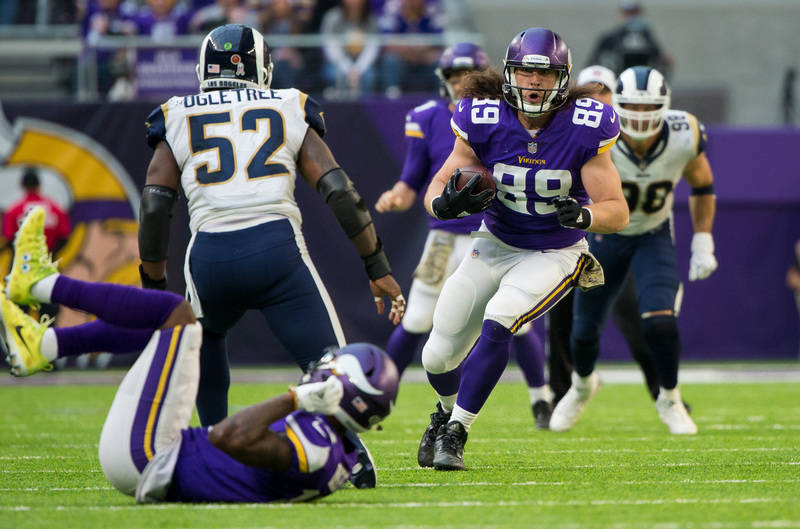 Nov 19, 2017; Minneapolis, MN, USA; Minnesota Vikings tight end David Morgan II (89) catches a pass in the third quarter against the Los Angeles Rams at U.S. Bank Stadium. Mandatory Credit: Brad R ...