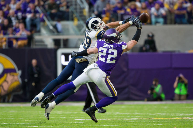 Nov 19, 2017; Minneapolis, MN, USA; Minnesota Vikings defensive back Harrison Smith (22) breaks up a pass in the fourth quarter against the Los Angeles Rams tight end Tyler Higbee (89) at U.S. Ban ...