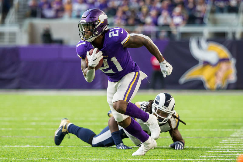 Nov 19, 2017; Minneapolis, MN, USA; Minnesota Vikings running back Jerick McKinnon (21) carries the ball during the third quarter against the Los Angeles Rams at U.S. Bank Stadium. Credit: Brace H ...