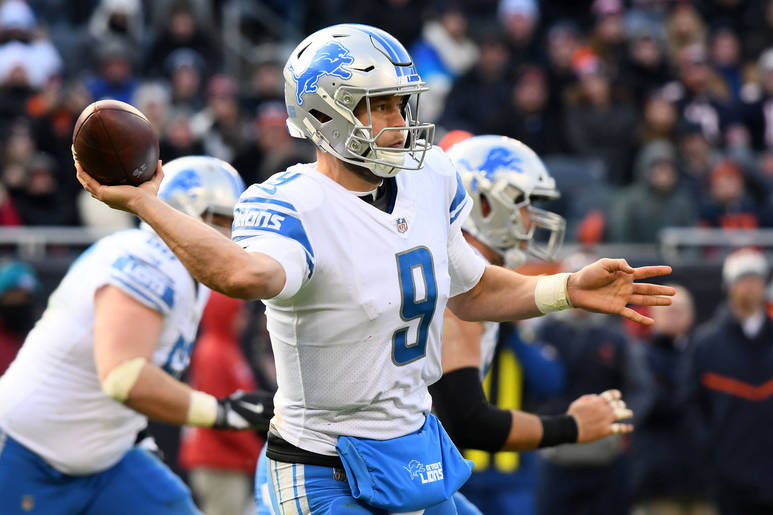 Nov 19, 2017; Chicago, IL, USA; Detroit Lions quarterback Matthew Stafford (9) throws a pass against the Chicago Bears during the second half at Soldier Field. Mandatory Credit: Mike DiNovo-USA TO ...