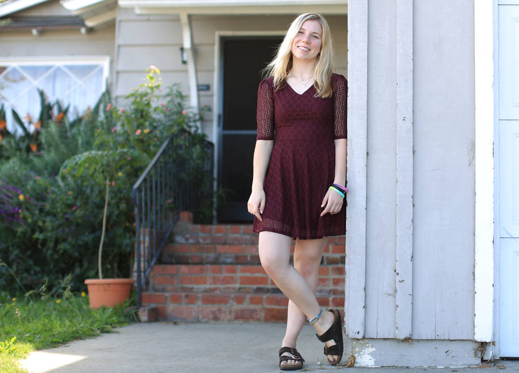 Amber Patterson, 19, at her home in Lomita, Calif., on Friday, Nov. 17, 2017. Her mother, Lisa Patterson, was a victim of the Route 91 Harvest festival shooting. (Brett Le Blanc/Las Vegas Review-J ...