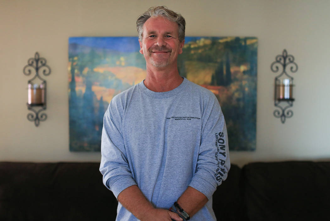 Robert Patterson, 53, at his home in Lomita, Calif., on Friday, Nov. 17, 2017. His wife, Lisa Patterson, was a victim of the Route 91 Harvest festival shooting. (Brett Le Blanc/Las Vegas Review-Jo ...