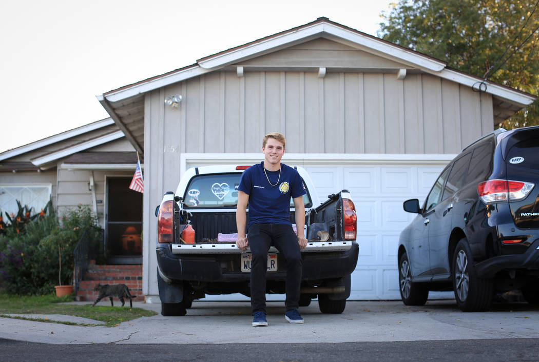 Robert Patterson, 17, at his home in Lomita, Calif., on Friday, Nov. 17, 2017. His mother, Lisa Patterson, was a victim of the Route 91 Harvest festival shooting. (Brett Le Blanc/Las Vegas Review- ...