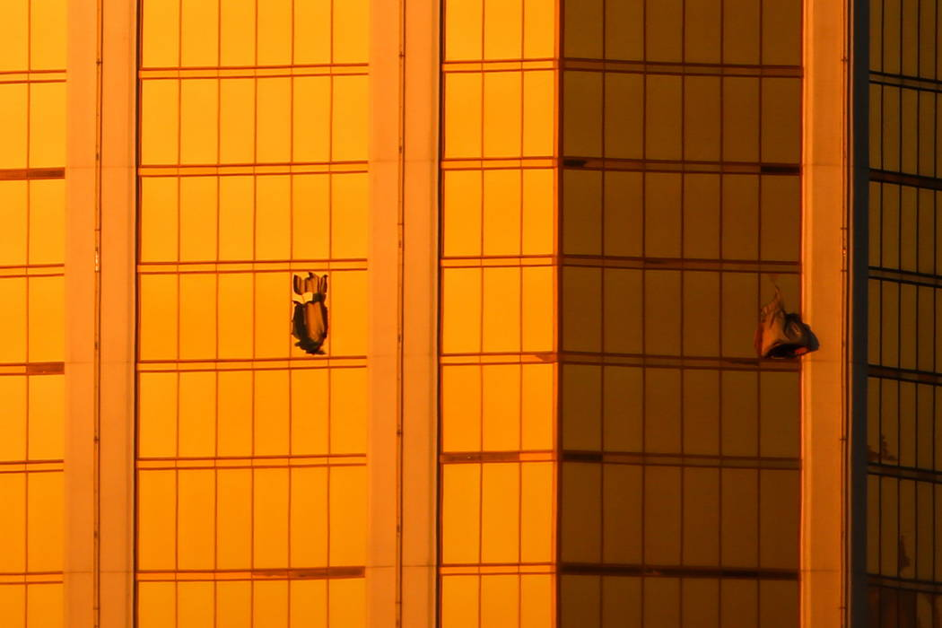 Windows at Mandalay Bay in Las Vegas are broken Monday. Oct. 2, 2017, after a shooting on the Strip left 58 dead and over 500 injured. Joel Angel Juarez Las Vegas Review-Journal @jajuarezphoto