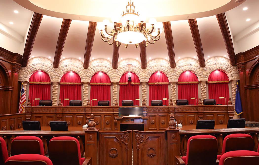 The Nevada Supreme Court courtroom. (Bizuayehu Tesfaye/Las Vegas Review-Journal) @bizutesfaye