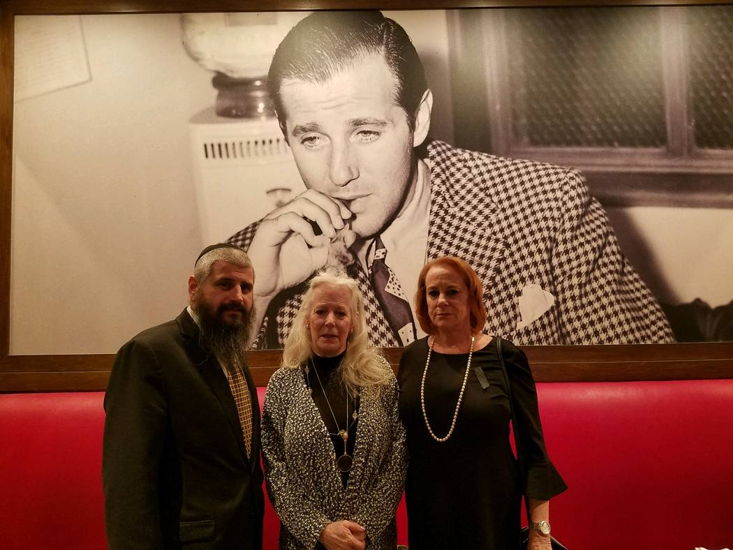 "Rabbi Mendy Harlig with Cindy Rosen, center, and Wendy Rosen, granddaughters of Benjamin ""Bugsy"" Siegel, the Jewish mob figure widely recognized as the visionary behind modern Las Vegas. (Chab ..."