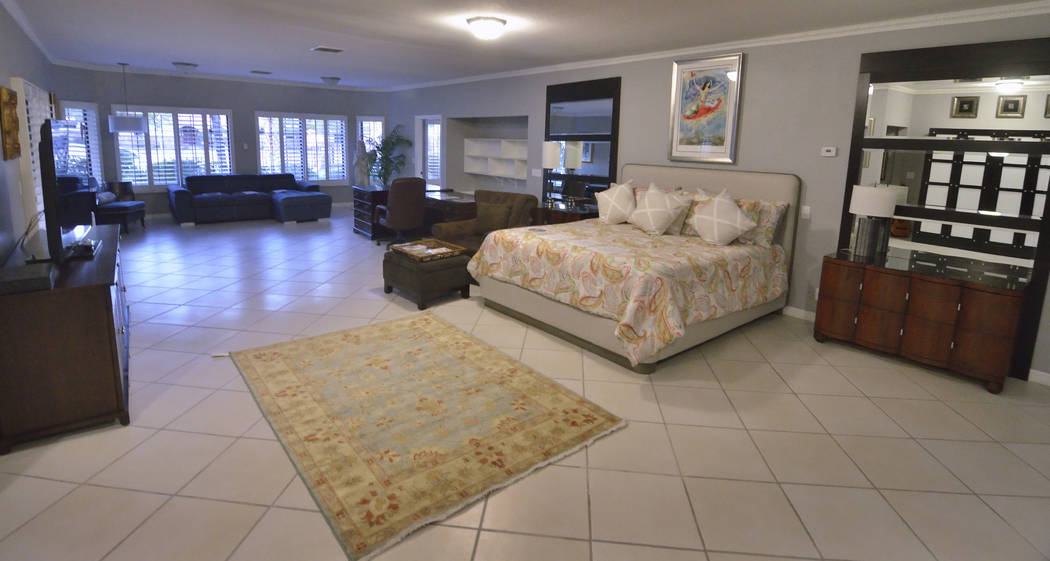 The master bedroom is shown in the 23,000-square-foot home previously owned by Mexican singer-songwriter Juan Gabriel at 2801 Pinto Lane in Las Vegas on Sunday, Nov. 19, 2017. The house and its co ...