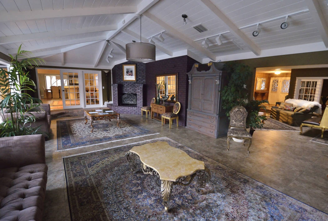 A living room is shown in the 23,000-square-foot home previously owned by Mexican singer-songwriter Juan Gabriel at 2801 Pinto Lane in Las Vegas on Sunday, Nov. 19, 2017. The house and its content ...