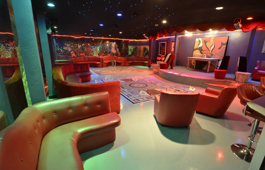 A nightclub is shown in the basement of a 23,000-square-foot home previously owned by Mexican singer-songwriter Juan Gabriel is shown at 2801 Pinto Lane in Las Vegas on Sunday, Nov. 19, 2017. The  ...